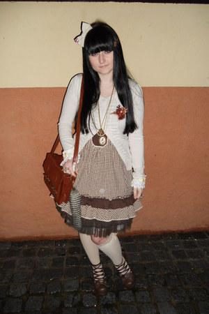 brown Gate bag - dark brown Orsay dress - cream Tally Weijl socks
