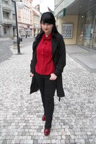 ruby red Bata heels - black Orsay coat - black thrifted jeans