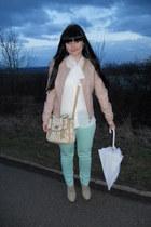 aquamarine lindex jeans - pink Pimkie jacket - white New Yorker shirt
