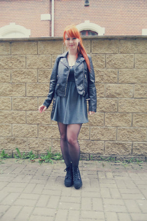 black H&M boots - heather gray thrifted dress - black biker jacket H&M jacket