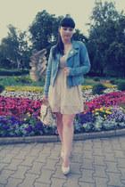 eggshell lace thrifted dress - sky blue denim Pimkie jacket
