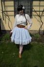 White-new-yorker-shirt-white-h-m-hair-accessory-sky-blue-dear-celine-skirt