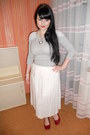 Silver-thrifted-sweater-ruby-red-deichmann-flats-white-vintage-skirt