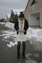 black H&M tights - black Zara jacket - white DIY skirt