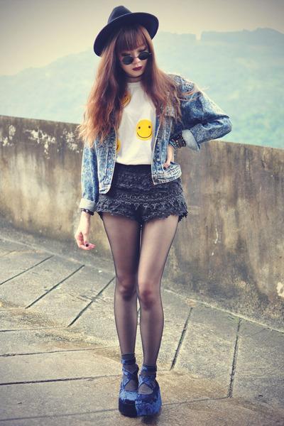 OASAP hat - denim jacket - Chicwish shorts - round sunglasses - cagecity t-shirt