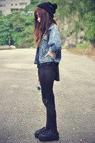 studded jacket - creepers shoes - studded Choies leggings - beanie accessories