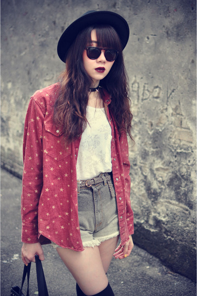 Forever 21 hat - vintage shirt - denim shorts shorts - sunglasses
