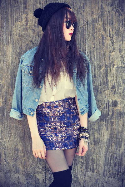 vintage skirt - creepers shoes - denim jacket Levis jacket - round sunglasses