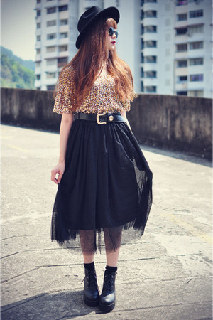 lookbookstore top - boots - OASAP hat - BLAQMAGIK belt - lookbookstore skirt