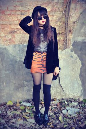 tiger print Choies skirt - creepers shoes - Forever 21 hat - velvet blazer