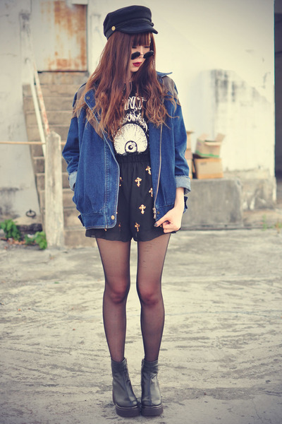 leather boots - denim Choies jacket - cross shorts - cap Choies accessories