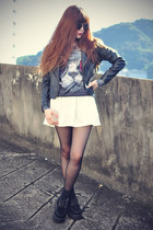leather jacket Sheinside jacket - creepers shoes - sunglasses