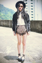 OASAP hat - jacket - Choies shorts - Choies sunglasses - OASAP top - wedges