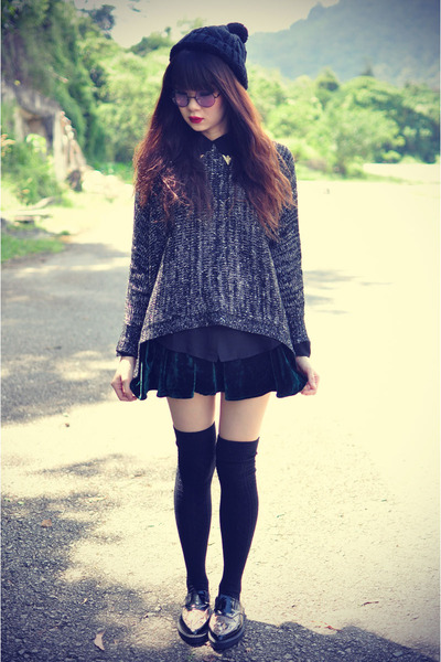 Choies jumper - sheer shirt - velvet skirt - beanie accessories