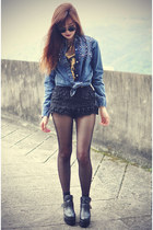 golden t-shirrt Choies t-shirt - leather boots - denim theeditorsmarket shirt