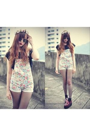 floral jumpsuit Sheinside jumper - theeditorsmarket loafers