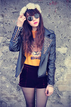 leather jacket - Lulus shorts - round sunglasses - floral crown accessories
