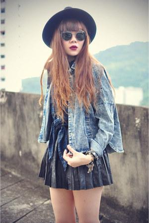 plaid shirt poppylover shirt - OASAP hat - boxy denim theeditorsmarket jacket