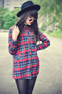 Red-plaid-shirt-ianywear-shirt-creepers-shoes-oasap-hat