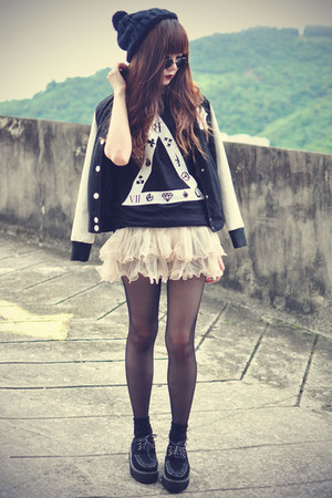 Sheinside skirt - creepers shoes - baseball jacket Choies jacket