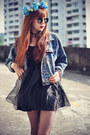 leather boots - Chicwish dress - denim jacket - round sunglasses