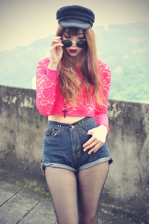 inlovewithfashion top - choiescom hat - younghungryfree shorts