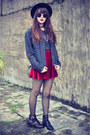 Choies-boots-forever-21-hat-oversized-denim-jacket-round-sunglasses
