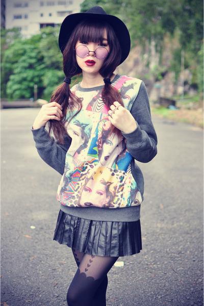sweatshirt - hat - Topshop tights - round sunglasses - pu skirt - Choies wedges