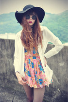 boots - hat - Choies shirt - round sunglasses - twinset awwdore skirt