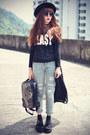 Choies-jeans-oasap-hat-choies-bag-round-sunglasses