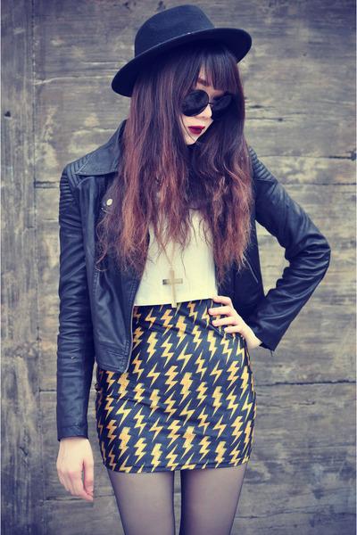 Lovelysally skirt - Forever 21 hat - leather Motel Rocks jacket - round glasses