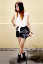 white chiffon romwe shirt - black pu OASAP bag - black pu romwe shorts