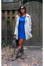 blue H&M dress - heather gray Khelf boots - white Renner coat