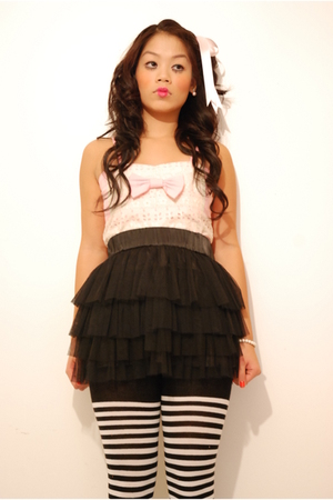 pink accessories - pink DIY dress - black f21 skirt - black Target tights - whit