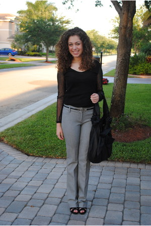 gray Express pants - black moms bag - black Payless heels - black Dillards belt