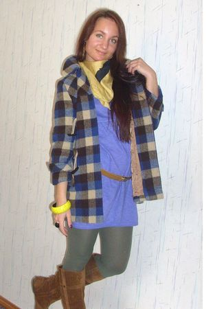 brown shoes - green leggings - purple Zara dress - yellow accessories - blue coa