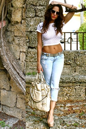 white lace crop top Bebe top - light blue Hollister Co jeans