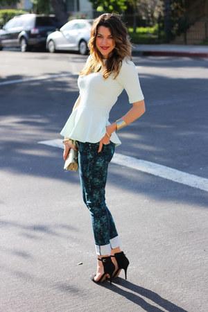 teal watercolor Paige Denim jeans - gold gold clutch vintage chanel bag