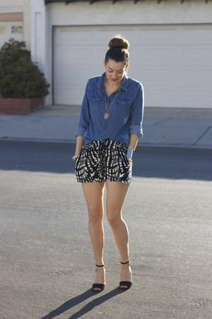 blue H&M shorts - blue chambray Gap shirt - gold gold cuff Nordstrom bracelet