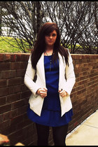 blue Forever 21 dress - white Forever 21 blazer