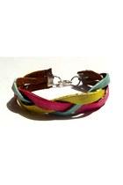 hot pink leather braided Beatniq Designs bracelet