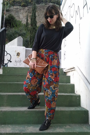 red vintage pants - black hazel shoes - black Zara sweater