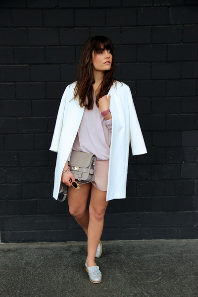 heather gray ps11 PROENZA SCHOULER bag - white Zara coat - pink asos shorts
