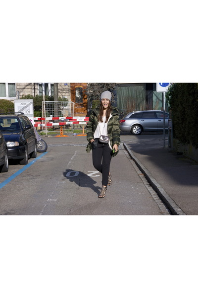 see by chloé bag - green jetset coat - white with lace The Kooples blouse