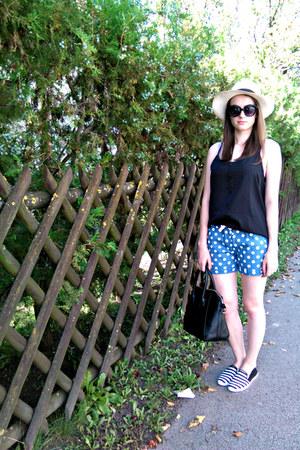 black New Yorker top - blue choiescom shorts - black New Yorker loafers