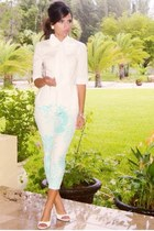 aquamarine Limited pants - white bowtie peplum BCBG top - white Aldo sandals