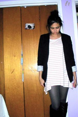 black Urban Planet boots - pink H&M shirt - black H&M blazer - black H&M tights