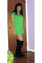 green Costa Blanca dress - black American Apparel socks - black Steve Madden boo