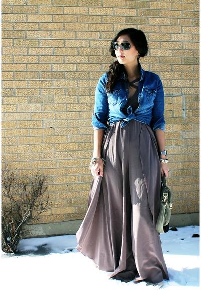 light brown silk BCBG romper - blue denim H&M shirt