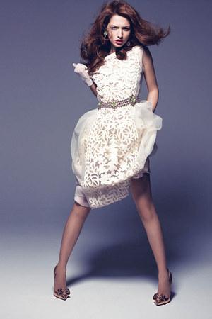 white lace white Louis Vuitton dress